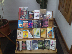 Books display in a hotel. Picture by ShashiBellamkonda.